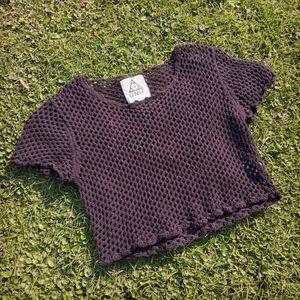 🔪🥀UNIF Black Crochet Crop Top🥀🔪